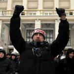 Résztvevők a kijevi kormányellenes tüntetők melletti szimpátiademonstráción, ahol bejelentették az alternatív helyhatalmi szerv szerepét betölteni hivatott Kárpátalja megyei néptanács megalakulását 2014. január 28-án. MTI Fotó: Nemes János