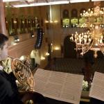 A Budapesti Filharmóniai Társaság Zenekarának tagjai próbát tartanak a felújított Pesti Vigadóban, amelynek átadási ünnepségét 2014. március 14-én este tartják. MTI Fotó: Kovács Tamás