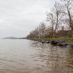 Balatonfenyves, 2014. február 25. A balatonfenyvesi strandnál a Balaton vízszintje 125 centiméter, ami 15 centiméterrel magasabb, mint a szabályozási szint, 2014. február 25-én. MTI Fotó: Varga György