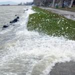 A partfalat csapkodják a hullámok az erős északi szélben a balatonfenyvesi strandon 2014. március 6-án. A Balaton vízszintje elérte a 129 centimétert, ez 19 centiméterrel magasabb a szabályozási maximumnál. A Sió-zsilip nyitását február 28-án, 127 centiméteres vízállásnál megkezdték, azonban a vízgyűjtő területről jelenleg intenzívebben folyik be víz a tóba, mint amekkora a vízeresztés kapacitása. MTI Fotó: Varga György