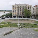 Budapest, 2012. június 11. A Kossuth tér átépítés alatt lévő része a Parlament egyik ablakából nézve. Az átépítés a Steindl Imre Programban foglaltak szerint történik. MTI Fotó: Illyés Tibor