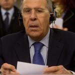 Szergej Lavrov orosz külügyminiszter az olasz külügyminisztériumnak otthont adó római Farnesina-palotában 2014. március 6-án. (MTI/EPA/Brambatti – Peri)