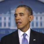 Barack Obama amerikai elnök sajtótájékoztatót a washingtoni Fehér Házban 2014. március 17-én. Obama bejelentette, hogy hét orosz politikus és két krími szakadár, valamint két volt ukrán tisztségviselő ellen rendelt el vízumkiadási tilalmat és számlabefagyasztást egy nappal az után, hogy az Ukrajnához tartozó Krím félszigeten a helyi oroszbarát vezetés által kiírt népszavazáson a lakosok nagy többsége az Oroszországhoz való csatlakozás mellett foglalt állást. (MTI/AP/Pablo Martinez Monsivais)