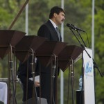Áder János magyar köztársasági elnök beszédet mond a Nemzetközi Élet Menete megemlékezésén az egykori auschwitzi koncentrációs táborban Oswiecimben 2014. április 28-án. A megemlékezésen ötvennégy ország képviselőinek részvételével, a magyar zarándokokkal az élen vonult végig a Nemzetközi Élet Menete az auschwitzi egykori haláltáborból a mintegy három kilométerre lévő birkenaui emlékhelyre. MTI Fotó: Kallos Bea