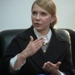 Julija Timosenko volt ukrán kormányfő, a jelenleg kormányzó Haza (Batykivscsina) párt elnökjelöltje interjút ad a kelet-ukrajnai Donyeckben 2014. április 7-én. (MTI/EPA/Roman Pilipey)