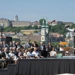 Orbán Viktor miniszterelnök beszédet mond Tisza István egykori miniszterelnök újjáépített szobrának avatásán Budapesten, a Kossuth téren 2014. június 9-én. Az alkotás Elek Imre szobrászművész munkája. MTI Fotó: Lakatos Péter