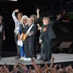 Az Omega együttes a Szabadságkoncerten, a budapesti Hősök terén 2014. június 16-án, a Nagy Imre és mártírtársai 1989-es újratemetésének emléknapján, a rendszerváltoztatás 25. évfordulóján. Az ingyenes koncerten az Omega és a német Scorpions lépett fel.MTI Fotó: Kovács Tamás