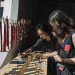 Érdeklődők a 14. Velencei Nemzetközi Építészeti Biennále magyar pavilonjának kiállítása, az Építés/Building című tárlat megnyitóján 2014. június 5-én. MTI Fotó: Kallos Bea