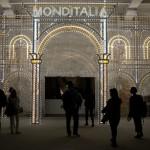 A 14. Velencei Nemzetközi Építészeti Biennále Monditalia című kiállításának bejárata a velencei Arzenalén 2014. június 5-én. MTI Fotó: Kallos Bea