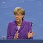 Brüsszel, 2014. június 27.  Angela Merkel német kancellár sajtóértekezletet tart az EU-országok állam-, illetve kormányfőinek csúcstalálkozója után Brüsszelben 2014. június 27-én. Az Európai Tanács Jean-Claude Juncker volt luxemburgi kormányfőt jelölte az Európai Bizottság élére. (MTI/AP/Geert Vanden Wijngaert)