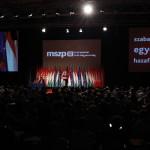 Tóbiás József, az egyedüli elnökjelölt (k) beszél az MSZP Rendkívüli tisztújító kongresszusán, a budapesti Syma Rendezvénycsarnokban 2014. július 19-én. A küldöttek új elnököt és vezető tisztségviselőket választanak. MTI Fotó: Szigetváry Zsolt