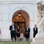 Trócsányi László igazságügyi miniszter (b3) köszönti a 189. Anna-bál résztvevőit a balatonfüredi Anna Grand Hotel parkjában 2014. július 26-án. MTI Fotó: Mátyus Tamás