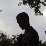 Boldog Sándor István vértanú szalézi szerzetes szobra, Pogány Gábor Benő alkotása, amelyet 2014. szeptember 1-jén avattak fel Szolnokon. MTI Fotó: Mészáros János