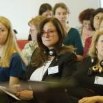 Adina Trunk, az Európai Néppárt Nők egyesület  alelnöke (b), Gudrun Mosler-Tömström, a salzburgi regionális parlament alelnöke (k) és Joanna Maycock, az Európai Női Lobbi főtitkára (j) A nők részvétele a politikában - hazai és nemzetközi körkép a 2014-es parlamenti választások után és az önkormányzati választások előtt című tanácskozáson a Budapesti Európai Ifjúsági Központban 2014. október 3-án. MTI Fotó: Koszticsák Szilárd