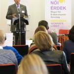 André Goodfriend, az Amerikai Egyesült Államok ideiglenes ügyvivője beszél A nők részvétele a politikában - hazai és nemzetközi körkép a 2014-es parlamenti választások után és az önkormányzati választások előtt című tanácskozáson a Budapesti Európai Ifjúsági Központban 2014. október 3-án. MTI Fotó: Koszticsák Szilárd