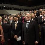 Áder János köztársasági elnök (b4), mellette Bronislaw Komorowski lengyel elnök a lipcsei Gewandhause kulturális központban megrendezett ünnepségen 2014. október 9-én. Áder János államfő Németország szövetségi elnökével és a visegrádi országok államfőivel együtt részt vesz Lipcsében a volt NDK-ban lezajlott békés forradalom 25. évfordulójára rendezett ünnepségeken. MTI Fotó: Bruzák Noémi