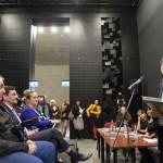 Ráday Mihály városvédő, a Budapesti Városvédő Egyesület elnöke beszél az Ybl összes - 52 település, 113 épület című kötet bemutatóján a Várkert Bazárban 2014. november 6-án.  Az első sorban balról Nagy Gábor Tamás, a főváros I. kerületének fideszes polgármestere (b2). MTI Fotó: Mohai Balázs