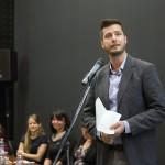 Az egyik szerző, Őrfi József építész beszél az Ybl összes - 52 település, 113 épület című kötet bemutatóján a Várkert Bazárban 2014. november 6-án. MTI Fotó: Mohai Balázs