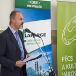 Zalay Szabolcs, a gimnázium igazgatója beszél a pécsi Leőwey Klára Gimnázium magyar-francia két tanítási nyelvű tagozat új épületszárnyának átadóünnepségén 2014. november 26-án. MTI Fotó: Sóki Tamás