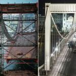 Kombókép az Erzsébet hídról. Balra Szigetváry Zoltán 1964-ben készült felvétele az épülő hídról, jobbra fia, Szigetváry Zsolt fotója, amely 2014. november 20-án készült. Ötven éve, 1964. november 21-én adták át a II. világháború alatt megsemmisült, majd újjáépített hidat a közforgalomnak.