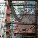 1964-ben készült felvétel az épülő Erzsébet hídról. A felvétel 2014. november 21-én vált elérhetővé. Ötven éve, 1964. november 21-én adták át a II. világháború alatt megsemmisült, majd újjáépített hidat a közforgalomnak. MTI Fotó: Szigetváry Zoltán