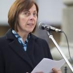 Bekk Mária, Kövér László házelnök felesége, zászlóanya beszédet mond a Zalai 47. Honvédzászlóalj Hagyományőrző Egyesület eskütételén és zászlószentelésén Zalaegerszegen 2014. november 22-én. MTI Fotó: Varga György
