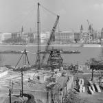 1962. február 23. Az Erzsébet híd építkezése a budai oldalon. MTI Fotó: Lajos György
