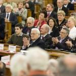 Boross Péter volt miniszterelnök (k) a nyilasok által 70 éve kivégzett Bajcsy-Zsilinszky Endre emlékére rendezett ülésen a Parlamentben 2014. december 13-án. MTI Fotó: Mohai Balázs