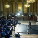 Csorba László, a  Magyar Nemzeti Múzeum főigazgatója beszédet mond a Nézőpontok - Térhatású fényképek a nagy háborúról és A front felett című kiállítás megnyitóján a  múzeumban 2014. december 19-én. MTI Fotó: Marjai János