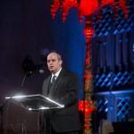 Budapest, 2015. január 18. Verő Tamás rabbi beszédet mond a pesti gettó felszabadításának 70. évfordulója alkalmából tartott megemlékezésen a Dohány utcai zsinagógában 2015. január 18-án. MTI Fotó: Marjai János