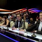 Pierrot EMeRTon-díjas zeneszerző, előadó, dalszövegíró, producer, Rúzsa Magdi énekesnő, Csiszár Jenő, a Médiaszolgáltatás-támogató és Vagyonkezelő Alap (MTVA) program-főtanácsadója és Rákay Philip, az MTV Nonprofit Zrt. vezérigazgató-helyettese, a zsűri tagjai (b-j) az Eurovíziós Dalfesztivál A Dal című magyar válogatóversenyének döntőjében az MTVA Kunigunda útjai gyártóbázisán 2015. február 28-án este. Csemer Boglárka Boggie és a Wars For Nothing című dal képviseli Magyarországot a májusi bécsi 60. Eurovíziós Dalfesztiválon május 19. és 23. között. MTI Fotó: Koszticsák Szilárd