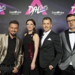 Pierrot EMeRTon-díjas zeneszerző, előadó, dalszövegíró, producer, Rúzsa Magdi énekesnő, Rákay Philip, az MTV Nonprofit Zrt. vezérigazgató-helyettese és Csiszár Jenő, a Médiaszolgáltatás-támogató és Vagyonkezelő Alap (MTVA) program-főtanácsadója, a zsűri tagjai (b-j) a hivatalos fotózáson az Eurovíziós Dalfesztivál A Dal című magyar válogatóversenyének döntőjében az MTVA Kunigunda útjai gyártóbázisán 2015. február 28-án este. Csemer Boglárka Boggie és a Wars For Nothing című dal képviseli Magyarországot a májusi bécsi 60. Eurovíziós Dalfesztiválon május 19. és 23. között. MTI Fotó: Koszticsák Szilárd