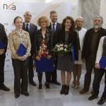 Balog Zoltán, az emberi erőforrások minisztere (b3), Doncsev András, a Nemzeti  Kulturális Alap (NKA) alelnöke (b5) és Klucsainé Herter Anikó, a Nemzeti Kultúrális Alap főigazgatója (j3) a Római Magyar Akadémia képzőművészeti ösztöndíjának ünnepélyes átadásán Budapesten, a Nemzeti Kulturális Alap Igazgatóságán 2015. április 21-én. Idén nyolc képzőművész kapott ösztöndíjat, balról jobbra: Ágoston Lóránt festőművész, Oláh Katalin szobrászművész, Varga Rita (b4), Kroó Anita (j4), Budaházi Tibor (j2) és Czene Márta (j) festőművész. MTI Fotó: Bruzák Noémi