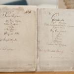 Istvánffy Benedek Jam Virga Jesse Florescit című graduáléja és Joseph Haydn Salve Reginája kottájának fedlapja  MTI Fotó: Krizsán Csaba
