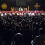 Jelenet az István, a király című rockopera előadásán a Petőfi Csarnok szabadtéri színpadán 2014. augusztus 30-án. A darabot Kárpát-medencei magyar árvák, nehéz sorsú határon túli és anyaországi gyermekek adták elő. MTI Fotó: Szigetváry Zsolt