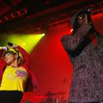 Stacy Ann Ferguson (b) és will.i.amaz, az amerikai Black Eyed Peas együttes 2005. január 26-i, a Petőfi  Csarnokban megtartott koncertjén. MTI Fotó: Illyés Tibor