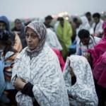 Busszal érkezett illegális bevándorlók a hegyeshalmi magyar-osztrák határ osztrák oldalán 2015. szeptember 5-én. A központi operatív törzs úgy döntött, hogy az éjszaka folyamán autóbuszokat vezényel a Keleti pályaudvarhoz és a M1-es autópályához, és felajánlják az ott tartózkodó bevándorlóknak, hogy a hegyeshalmi határátlépési ponthoz szállítják őket. Ausztria a szükséghelyzet miatt beengedi a Magyarországról érkező migránsokat. MTI Fotó: Mohai Balázs
