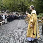 Mátraverebély, 2015. szeptember 5. Résztvevők a mátraverebély-szentkúti nemzeti kegyhely felújított külső liturgikus terének és új létesítményeinek átadási ünnepségén 2015. szeptember 5-én. MTI Fotó: Komka Péter