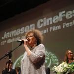 Claudia Cardinale színésznő, a 12. Jameson CineFest Miskolci Nemzetközi Filmfesztivál életműdíjasa fesztivál megnyitóünnepségén 2015. szeptember 11-én. MTI Fotó: Vajda János