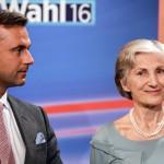 Irmgard Griss független jelölt (j) és Norbert Hofer, az Osztrák Szabadságpárt (FPÖ) államfőjelöltje egy választási műsorban, Bécsben 2016. április 24-én, az osztrák elnökválasztás napján. (MTI/EPA/Filip Singer)