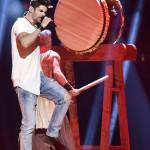 Freddie (Fehérvári Gábor Alfréd) Pioneer című dalát adja elő a 61. Eurovíziós Dalverseny döntőjében a stockholmi Globe Arénában 2016. május 14-én. A mezőnyben 26 ország küldötte verseng az első helyért. (MTI/AP/Martin Meissner)