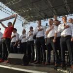 A franciaországi labdarúgó Európa-bajnokságról hazatérő magyar labdarúgó-válogatott játékosai a fővárosi Hősök terén tartott ünneplésen<br /> MTI Fotó: Koszticsák Szilárd