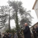 Fazekas Sándor földművelésügyi miniszter beszédet mond a Hármashatár-hegyi turistaház előtt a Guckler Károly-kilátóközpont és a turistaház ünnepélyes átadásán 2016. július 14-én.<br /> MTI Fotó: Mohai Balázs