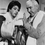 Sylvester Stallone filmbéli edzőjével, Burgess Meredith-szel a Rocky-ban. Fotó: getty Images