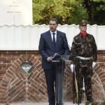 Lázár János, a Miniszterelnökséget vezető miniszter, a térség országgyűlési képviselője beszédet mond a makói Országzászló emlékmű újraállításán 2017. május 31-én. MTI Fotó: Kelemen Zoltán Gergely