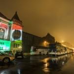 Fényfestés a Budapesti Műszaki és Gazdaságtudományi Egyetem épületén az 1956-os forradalom és szabadságharc 61. évfordulója alkalmából 2017. október 22-én.<br /> MTI Fotó: Mohai Balázs