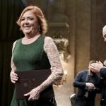 Börcsök Enikő színésznő, miután átvette a Magyarország Kiváló Művésze díjat (MTI-fotó: Koszticsák Szilárd)
