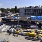 A Liget Budapest Projekt keretében épülő Országos Múzeumi Restaurálási és Raktározási Központ építkezése a Szabolcs utcában.<br /> (MTI/Máthé Zoltán)