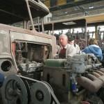 Egy másik legenda: Csepel dízelmotor kiszerelve, beépítésre várva (Fotó: hirado.hu/Szilágyi Levente)