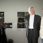 Fekete György, a Magyar Művészeti Akadémia elnöke (j2) és Andy Vajna kormánybiztos (j) a Zsigmond Vilmos Oscar-díjas operatőr 85. születésnapja alkalmából rendezett fogadáson a budapesti Ludwig Múzeumban 2015. június 16-án (Fotó:<br /> MTI/Mohai Balázs)
